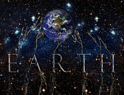 Connecting Digital Art Posters - Earth Universe Poster by Leanne M Williams