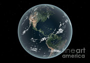 Merging Digital Art Prints - Earths Western Hemisphere With Rise Print by Walter Myers