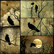 Damask Prints - Earthy Crows Print by Gothicolors With Crows