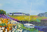 Easdale Cottages Print by Peter Tarrant