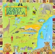 Map Of The World Painting Posters - East Africa Poster by Virginia Ann Hemingson