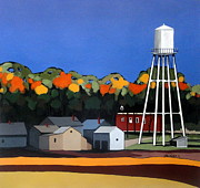 Water Tower Paintings - East Amana Water Tower by John Chehak