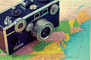 Vintage Map Photos - East Coast  by Lost In The Valley Photography