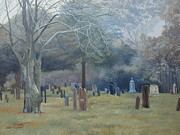 Graves Paintings - East End Cemetery Amagansett by Barbara Barber