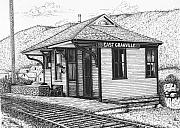 Train Drawings Originals - East Granville by Bruce Kay
