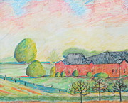 Vineyard Landscape Drawings Prints - East Hampton Landscape Print by Dorothy Siclare
