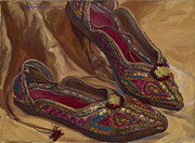 Middle East Painting Originals - East indian shoes by Christine Lytwynczuk