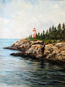 New England Lighthouse Paintings - East Quoddy Head Light by Lee Piper