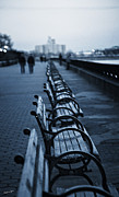 Cobblestones Posters - East River Bench - NYC Poster by Madeline Ellis