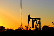 Oil Pumper Posters - East Texas Pumpjack At Sunset Poster by Kathy  White