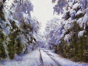 Country Road Digital Art Framed Prints - East Texas Snow Day Framed Print by Lorri Crossno
