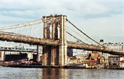 River Scenes Digital Art Framed Prints - East Tower Brooklyn Bridge - New York Framed Print by Daniel Hagerman