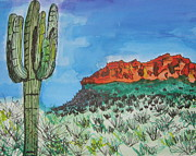 Desert Drawings Prints - East Valley Mountains Print by Marcia Weller-Wenbert