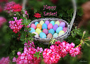 Diana Haronis Posters - Easter Basket and Flowers Poster by Diana Haronis