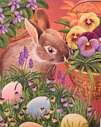 Easter Eggs Paintings - Easter Bunny  by Bonnie Golden