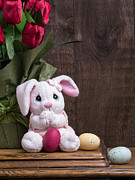 Stuffed Animal Prints - Easter Bunny Print by Edward Fielding