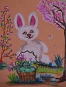 Easter Flowers Pastels Prints - Easter Bunny Egg Hunt Print by Maria Urso