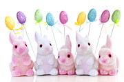Yellow Line Prints - Easter bunny toys Print by Elena Elisseeva
