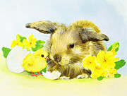 Farmyard Painting Posters - Easter bunny with primrose and chick Poster by Diane Matthes