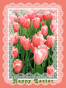 Rosalie Scanlon Posters - Easter Card with Tulips Poster by Rosalie Scanlon