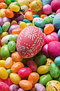 Confectionery Posters - Easter egg and jellybeans  Poster by Garry Gay