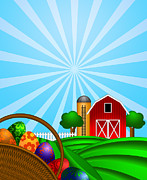 Rolling Doors Posters - Easter Eggs Basket with Red Barn on Green Pasture Poster by JPLDesigns