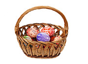 Wicker Basket Prints - Easter Eggs in wicker basket Print by Michal Boubin