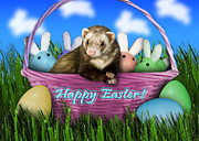 Ferret Digital Art - Easter Ferret by Jeanette K