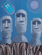 Dr Who Paintings - Easter Island Revisited by Anthony Morris