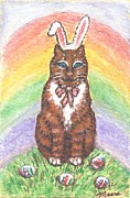 Cat Prints - Easter Kitty Print by Linda Mears