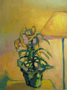 Interior Still Life Painting Metal Prints - Easter Lillies Metal Print by Caleb Colon