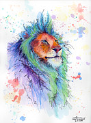 Drips Painting Metal Prints - Easter Lion Metal Print by Arleana Holtzmann