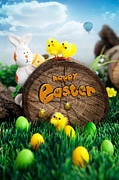 Copyspace Digital Art Posters - Easter Poster by Mythja  Photography