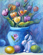 Easter Eggs Paintings - Easter Still Life by Carolyn Jarvis