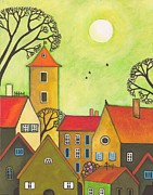 Black Cat Landscape Prints - Easter Tyme In German Town Print by Margaryta Yermolayeva