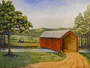 Horse And Buggy Painting Posters - Eastern Covered Bridge Poster by Susan Williams Phillips