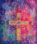 Rectangles Paintings - Eastern Cross by Laila Shawa