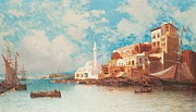 Picturesque Painting Posters - Eastern Harbor Poster by Jean Baptiste Henri Durand-Brager