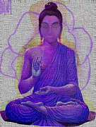 Beautiful Purples Prints - Eastern Indian Women In Meditation In Purple Print by Sherri  Of Palm Springs