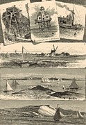 Plum Drawings Framed Prints - Eastern Long Island Scenes 1872 Engraving Framed Print by Antique Engravings