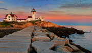 Ocean Front Framed Prints - Eastern Point Lighthouse at Sunset Framed Print by Thomas Schoeller