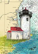 Massachusetts Coast Paintings - Eastern Pt Lighthouse MA Nautical Chart Map Art by Cathy Peek