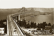 Yerba Buena Island Posters - Eastern span of San Francisco-  Oakland Bay Bridge circa 1937 Poster by California Views Mr Pat Hathaway Archives