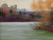 Autumn Landscape Painting Framed Prints - Eastnor Castle Framed Print by Edward Clifford