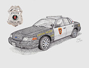 Maryland Drawings Posters - Easton Police Car 107 Poster by Calvert Koerber