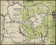 Old Map Paintings - Eastons map of Mt. Baker Wash by MotionAge Art and Design - Ahmet Asar