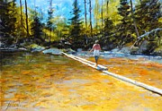Colorado Mountain Stream Paintings - Easy does it by Greg Clibon