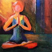 Yoga Pose Paintings - Easy Pose by Katie Wolff