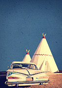 Roadside Metal Prints - Eat and Sleep in a Wigwam Metal Print by Edward Fielding