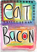 Purple Metal Prints - Eat Bacon Metal Print by Linda Woods